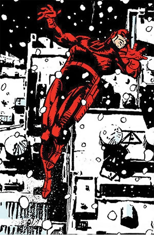 Daredevil (Marvel Comics) above the city in the snow