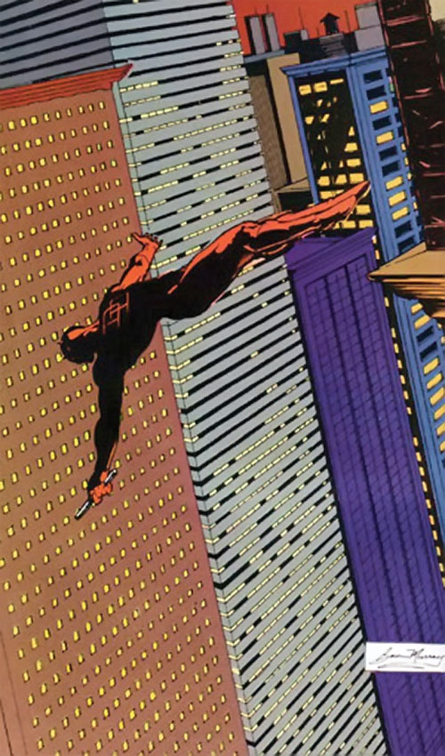 Daredevil (Marvel Comics) diving between skyscrapers