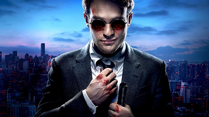 Daredevil (Charlie Cox on Netflix) smile and bloody knuckles