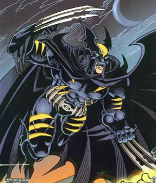 Dark Claw (Wolverine/Batman Amalgam Comics) leaping with claws out