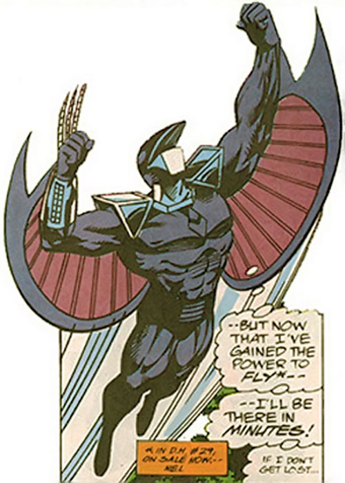 Darkhawk (Marvel Comics) taking off and flying