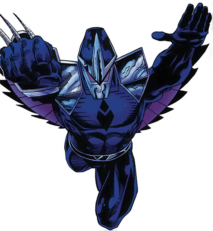 Darkhawk in his early body, flying in