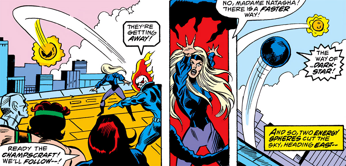 Darkstar - Marvel Comics- Petrovna - Champions - Flying Darkforce bubble