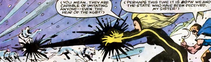 Darkstar - Marvel Comics - Russian super-heroine - Blasting wolves