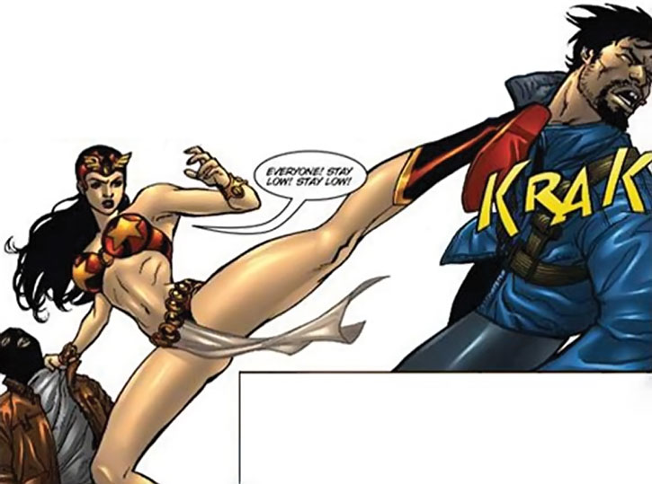 Darna kicks a bad guy