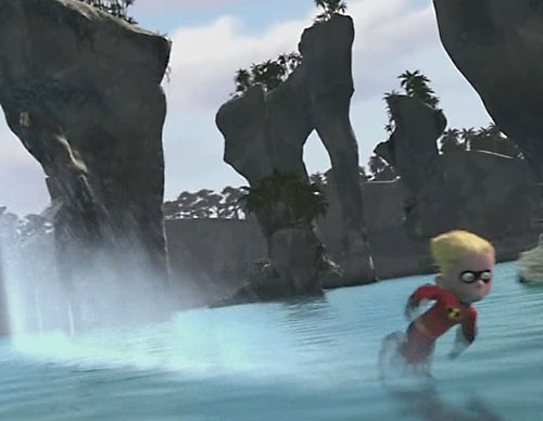 Dash of the Incredibles (Pixar) running across a scenic bay