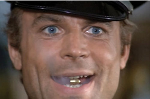 Dave Speed (Terrence Hill in Superfuzz) catches a smoking bullet with his teeth