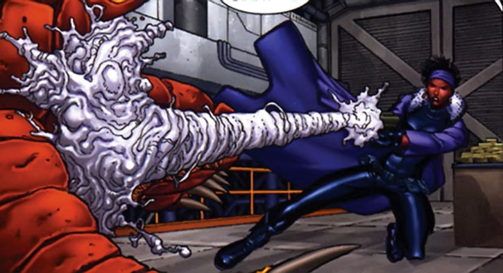 Deadly Nightshade (Tilda Johnson) uses her special pistol
