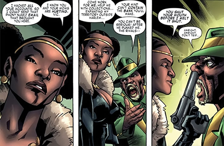 Deadly Nightshade (Tilda Johnson) holds a gun to Cornell Cottonmouth