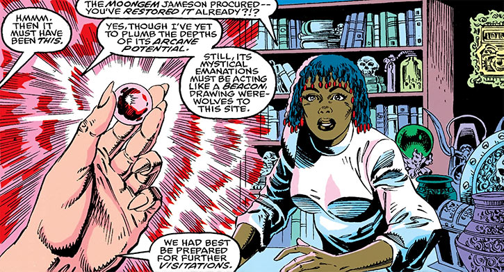 Deadly Nightshade (Tilda Johnson) is shown the Moongem