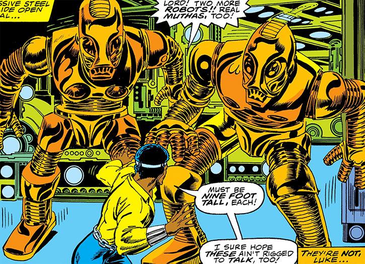 Deadly Nightshade (Tilda Johnson)'s cybernaut robots confront Power Man (Luke Cage)