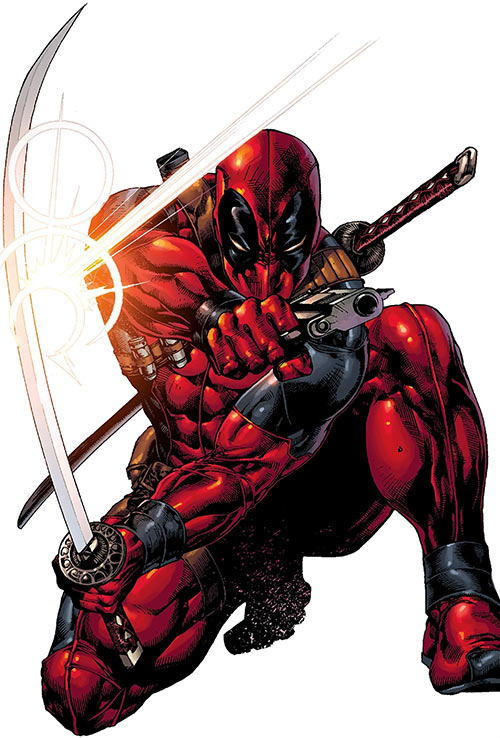 Deadpool (Marvel Comics) crouching, brandishing a Japanese sabre and a .45 pistol
