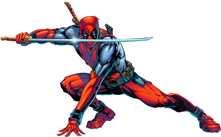 Deadpool crouches with a sword