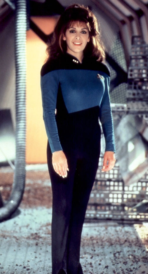 Deanna Troi (Marina Sirtis in Star Trek TNG) with a blue Federation uniform