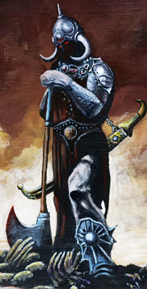 Frazetta's Death Dealer posing with an ax