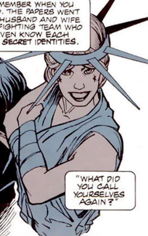 Death Doll (Aztek enemy) (DC Comics) as Lady Liberty