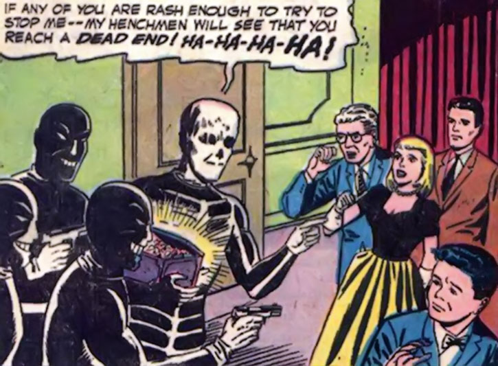 Death-Man threatens Gotham socialites in his vintage appearance