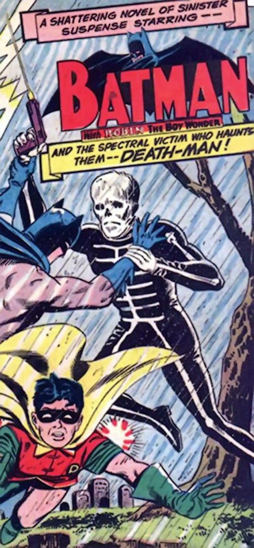 Death-Man (Batman enemy) (DC Comics) (Silver Age) kicks Robin in a graveyard
