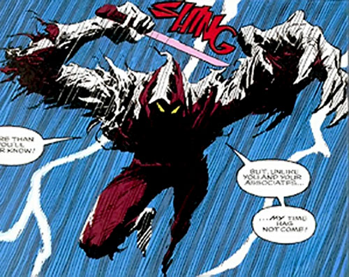 Death Ninja (Ghost Rider enemy) (Marvel Comics) leaping during a lightning storm