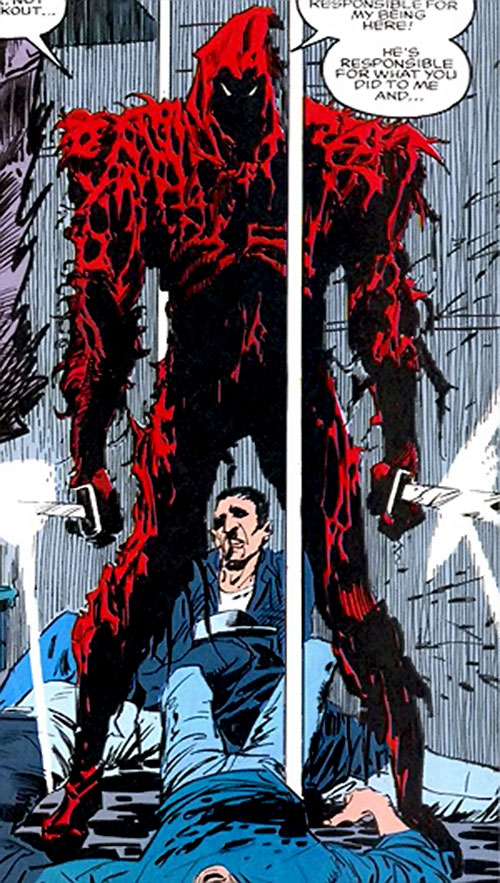 Death Ninja (Ghost Rider enemy) (Marvel Comics) standing over corpses