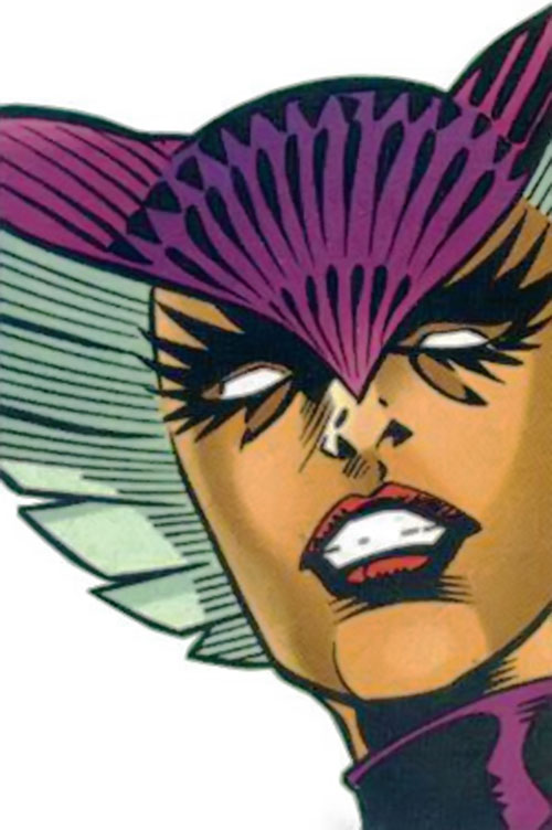 Deathbird of the Shi'ar (X-Men enemy) (classic Marvel Comics) face closeup orange skin