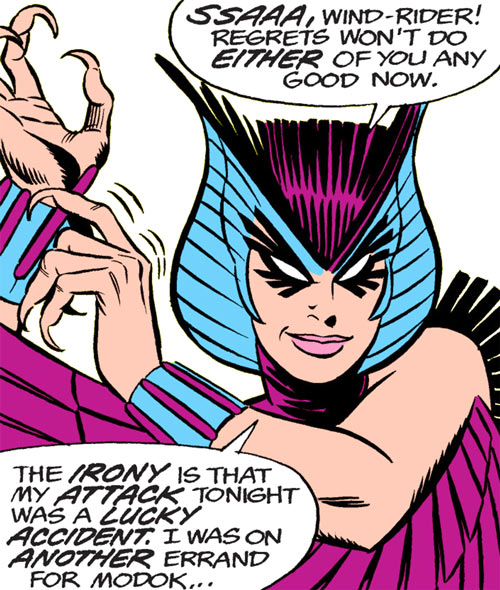 Deathbird of the Shi'ar (X-Men enemy) (classic Marvel Comics) reaching for her bracers