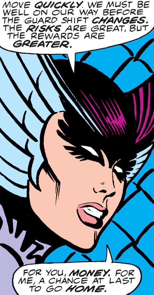 Deathbird of the Shi'ar (X-Men enemy) (classic Marvel Comics) face closeup side view