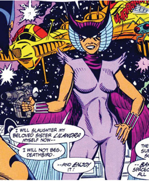 Deathbird of the Shi'ar (X-Men enemy) (classic Marvel Comics) with a blaster