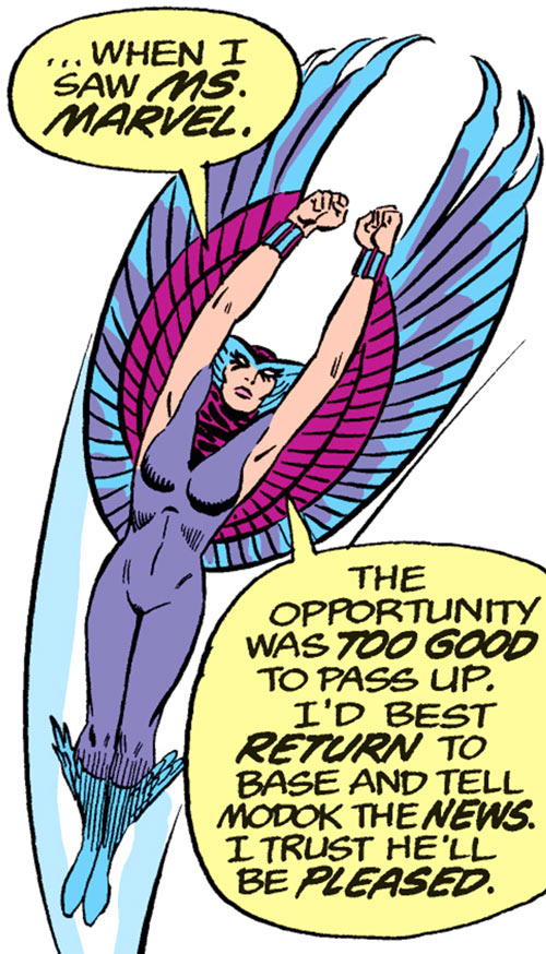 Deathbird of the Shi'ar (X-Men enemy) (classic Marvel Comics) soaring