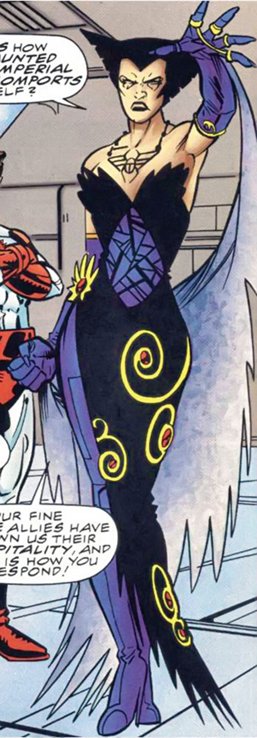 Deathbird of the Shi'ar (X-Men enemy) (classic Marvel Comics) in a black and purple sophisticated dress
