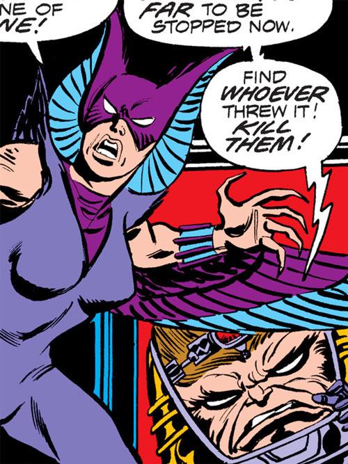 Deathbird of the Shi'ar (X-Men enemy) (classic Marvel Comics) and MODOK