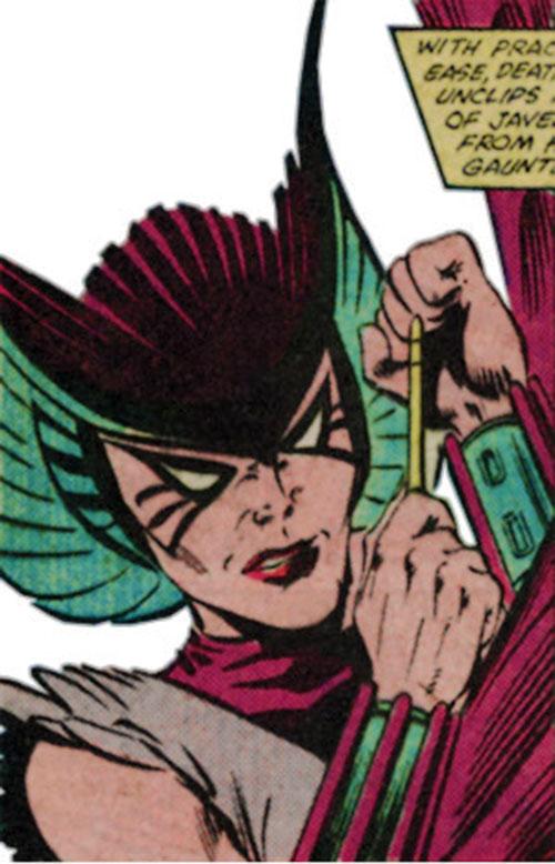 Deathbird of the Shi'ar (X-Men enemy) (classic Marvel Comics) closeup with a shrunk javelin