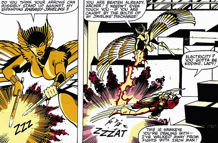 Deathbird attempts to electrocute Hawkeye
