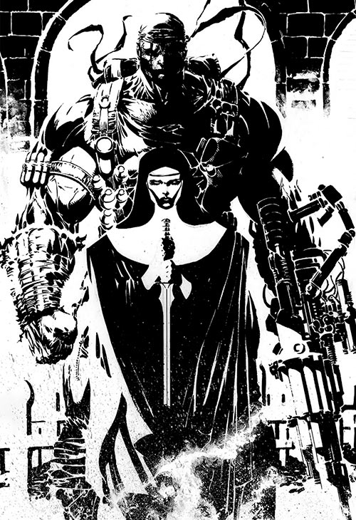 Deathblow (Image Comics) and Sister Mary Jim Lee back and white ink art
