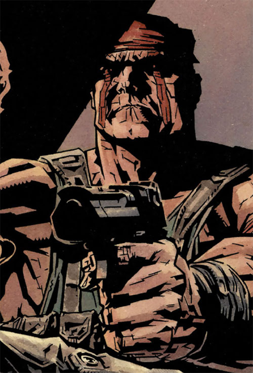 Deathblow (Image Comics) pointing a Desert Eagle