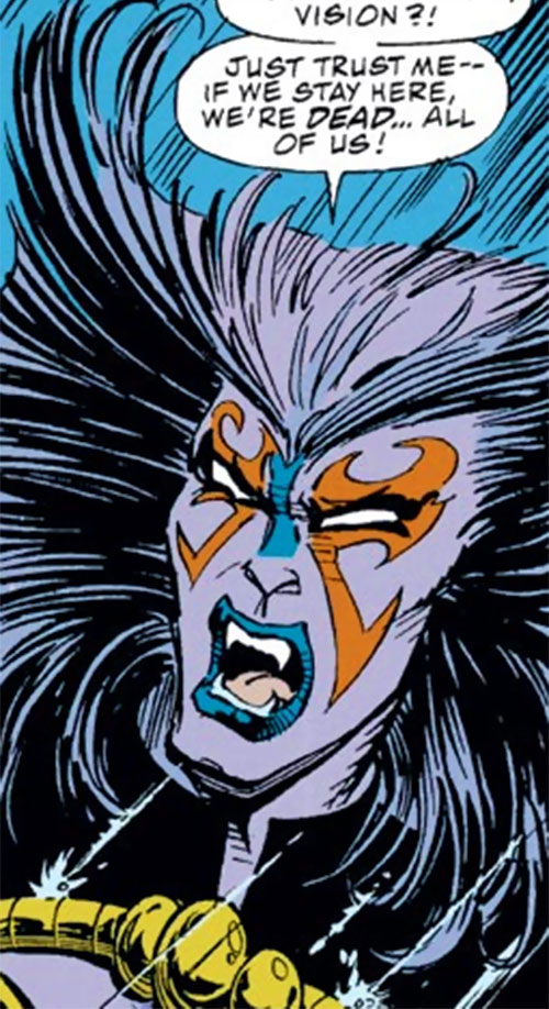 Deathcry of the Avengers (Marvel Comics) face closeup