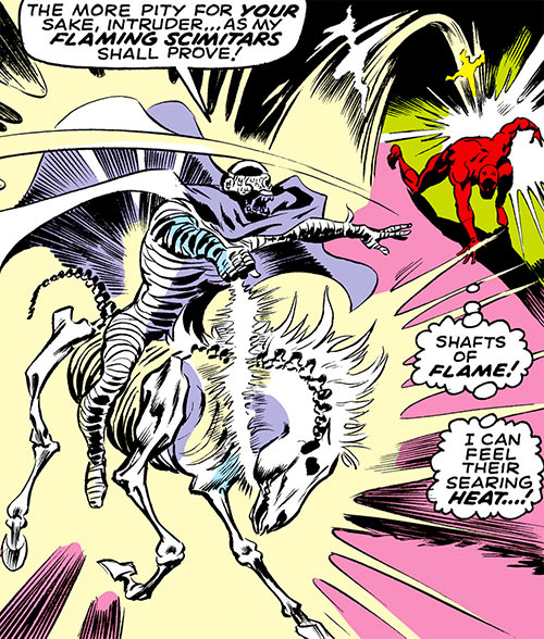 Death's Head (Daredevil enemy) throws swords of flame