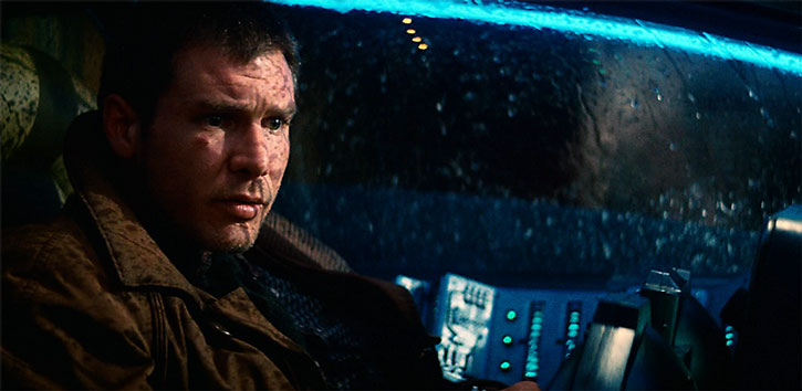 Deckard (Harrison Ford) in a flying car