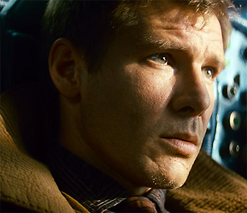 Deckard (Harrison Ford in Blade Runner) face closeup