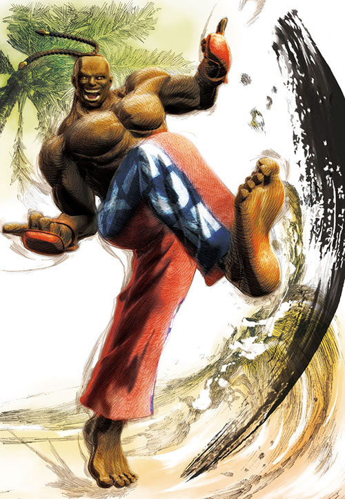 Dee Jay (Street Fighters) kicking some sand