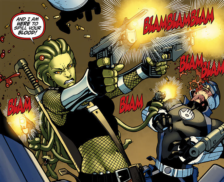 Delphyne Gorgon - Marvel Comics - Akimbo machine pistols