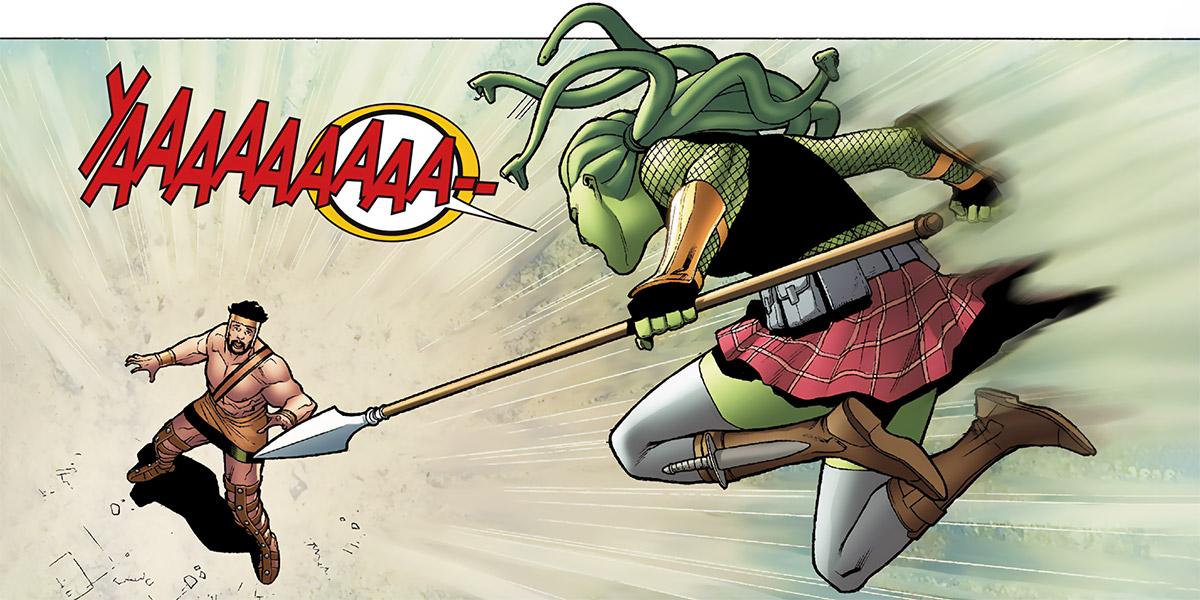 Delphyne Gorgon - Marvel Comics - Attacks Hercules spear lunge