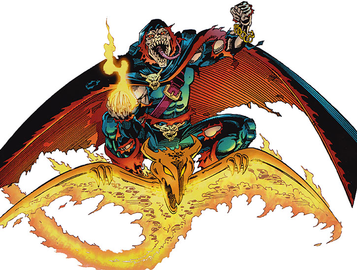 The Demogoblin on his glider, holding a bomb