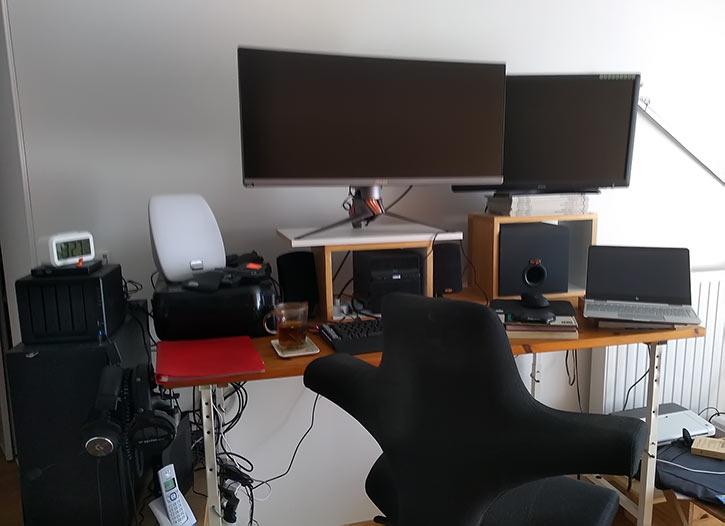 Healthy desktop/workspace personal setup chair shot