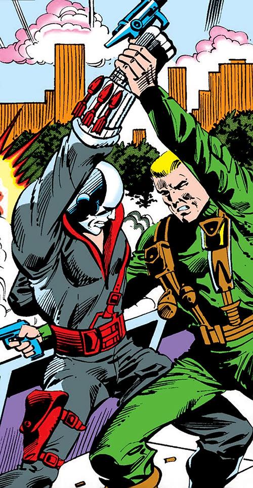 Destro (G.I. Joe) (Marvel comics) fights Hawk vertical