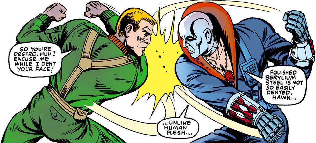 Destro (G.I. Joe) (Marvel comics) fights Hawk