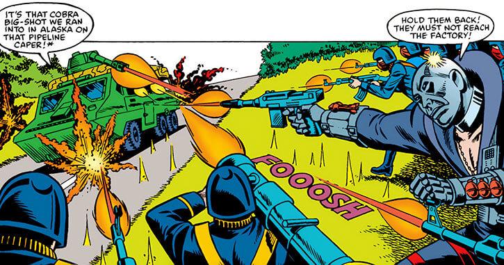 Destro (G.I. Joe) (Marvel comics) rallying the Cobra troops attacking convoy