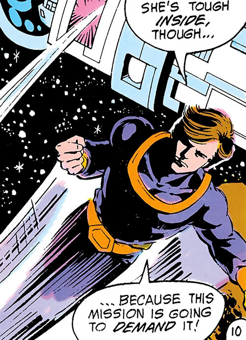 Dev-Em (Legion of Super-Heroes) (DC Comics) flying in space
