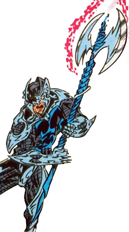 Devastator of the Cadre (JLA enemy) (DC Comics) raising his axe