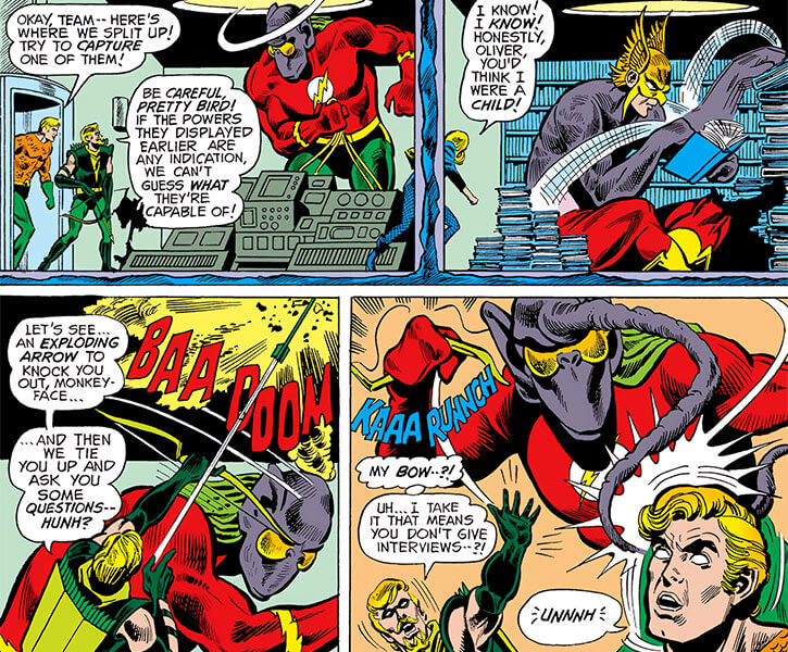 Dharlu (DC Comics) (1970s Justice League of America) as composite beings against the JLA